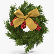 Christmas Wreath with Gold Bow 3d model