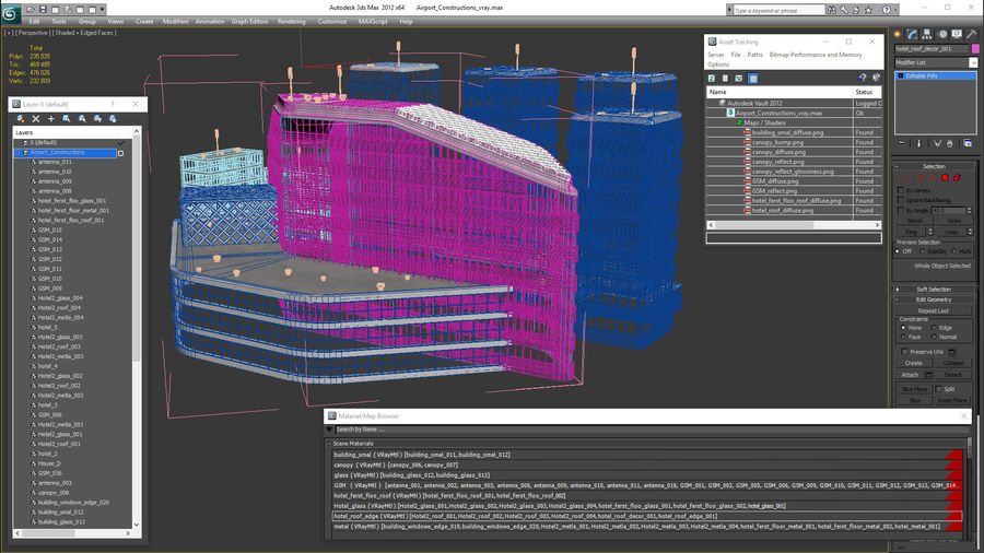 Здание аэропорта royalty-free 3d model - Preview no. 27