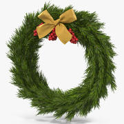 Christmas Wreath with Gold Bow 2 3d model