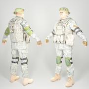 Soldato americano pronto per il gioco completamente attrezzato con oggetti di scena 3d model