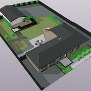 Hus med trädgård 3d model