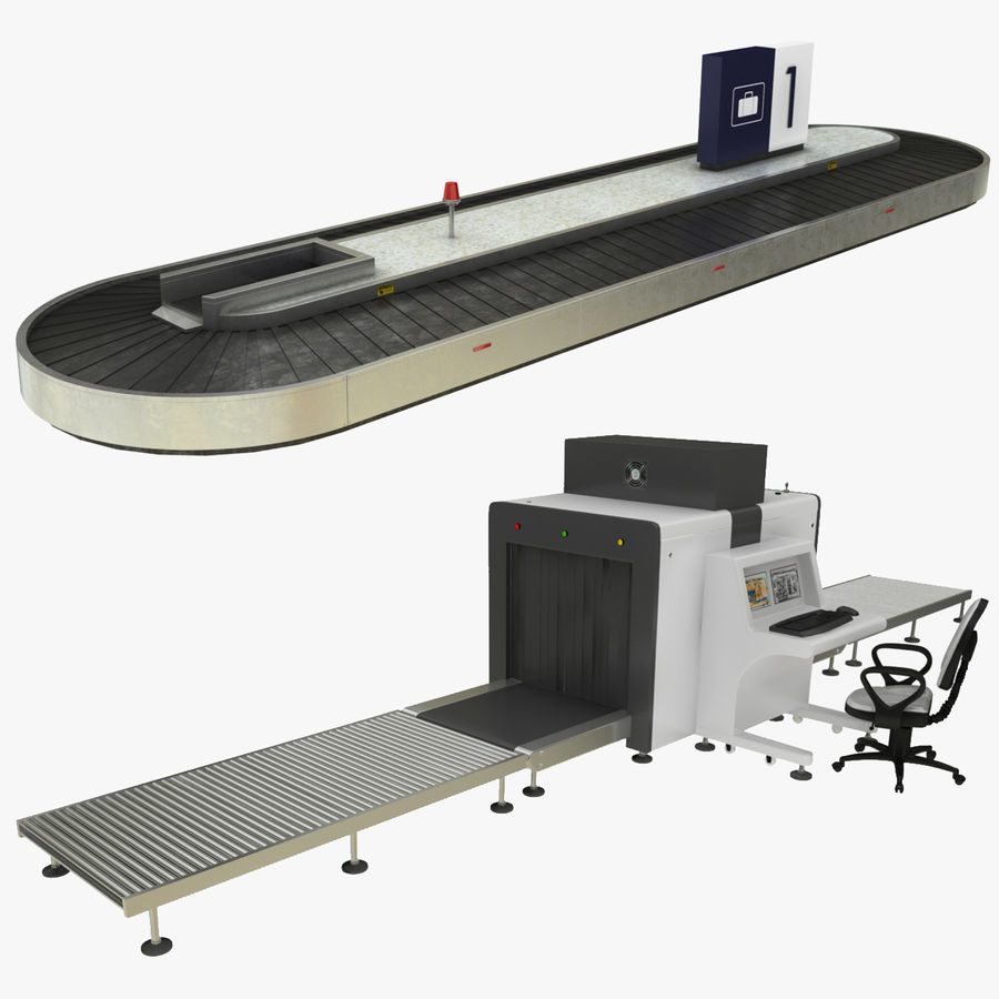 Collectie luchthavenbagage Carrousel en röntgenband royalty-free 3d model - Preview no. 1