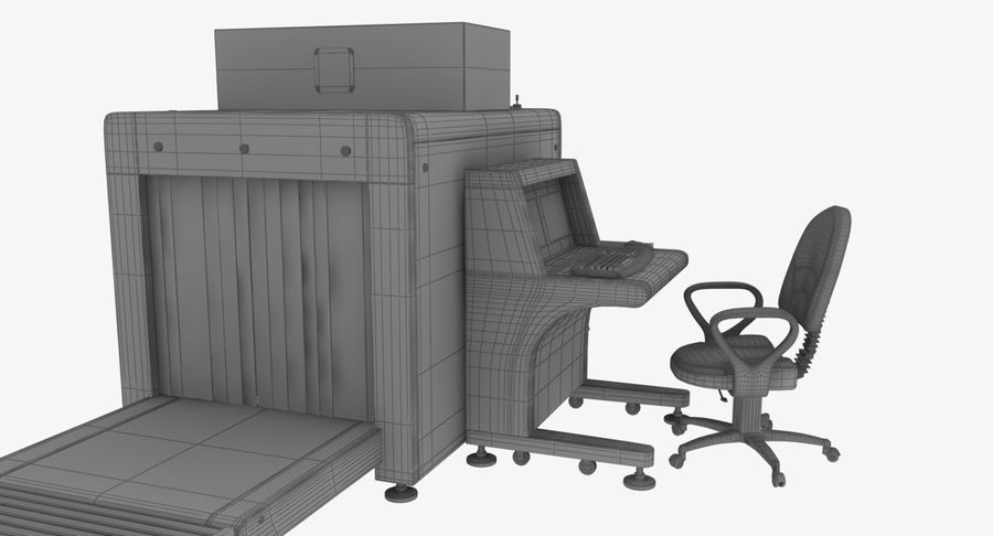 Collectie luchthavenbagage Carrousel en röntgenband royalty-free 3d model - Preview no. 11