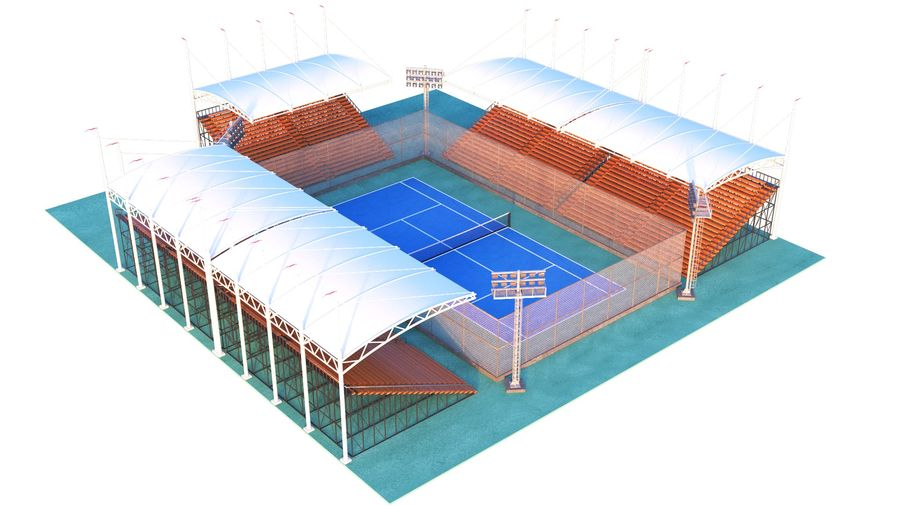Tennis Court Arena royalty-free 3d model - Preview no. 3