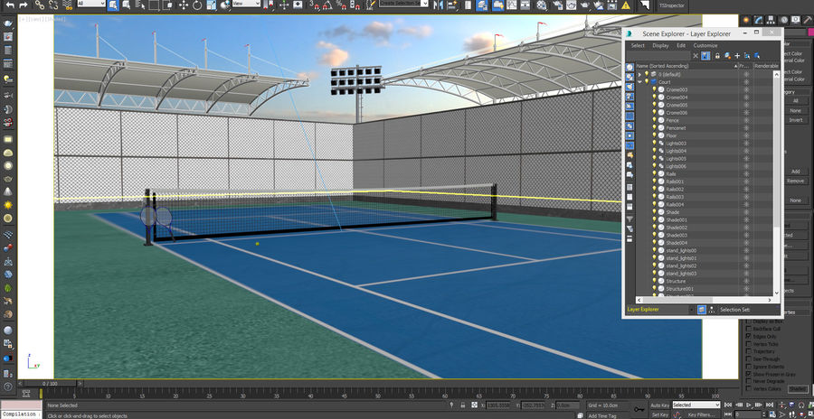 Tennis Court Arena royalty-free 3d model - Preview no. 10