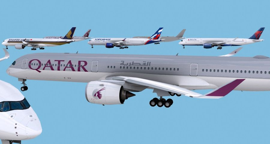 Airbus A350-900 / A350-1000 Base + 8 Liveries royalty-free 3d model - Preview no. 6