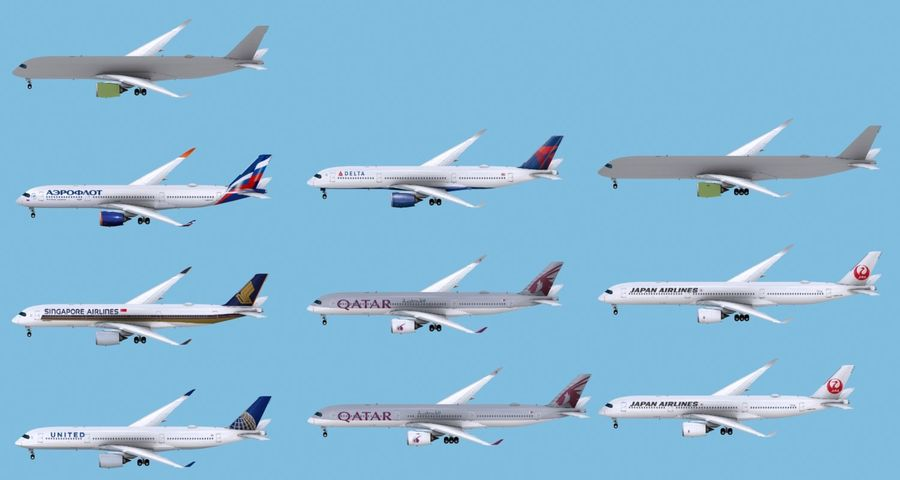 Airbus A350-900 / A350-1000 Base + 8 Liveries royalty-free 3d model - Preview no. 2