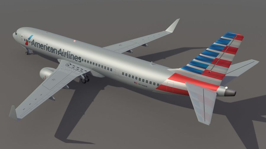 美国航空飞机(1) royalty-free 3d model - Preview no. 4