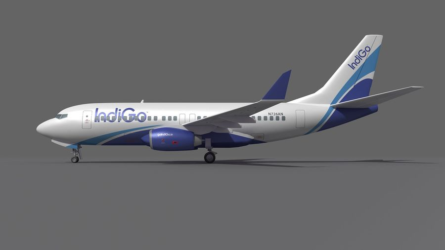 IndiGo Aircraft Airplane royalty-free 3d model - Preview no. 8