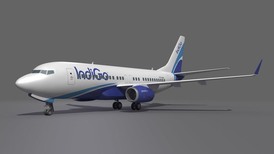 IndiGo Aircraft Airplane royalty-free 3d model - Preview no. 6
