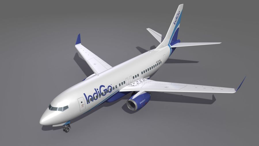 IndiGo Aircraft Airplane royalty-free 3d model - Preview no. 11