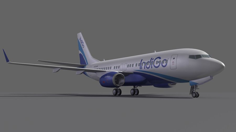 IndiGo Aircraft Airplane royalty-free 3d model - Preview no. 7