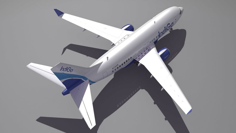 IndiGo Aircraft Airplane royalty-free 3d model - Preview no. 5