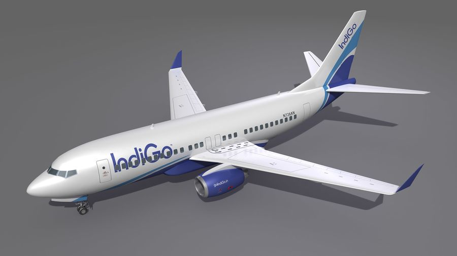 IndiGo Aircraft Airplane royalty-free 3d model - Preview no. 3