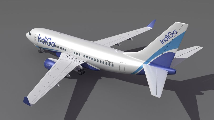 IndiGo Aircraft Airplane royalty-free 3d model - Preview no. 4