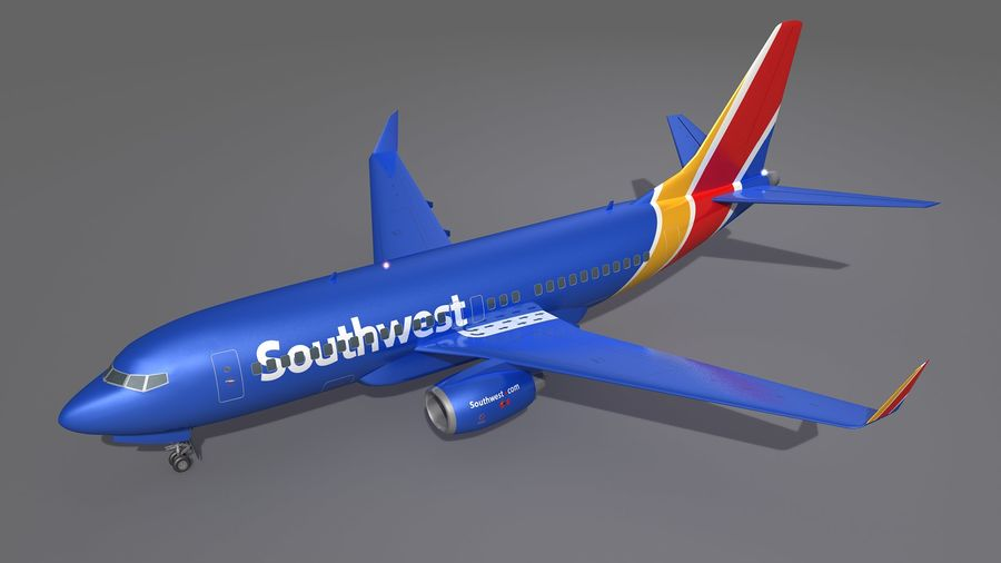 Southwest Airplane Aircraft royalty-free 3d model - Preview no. 3