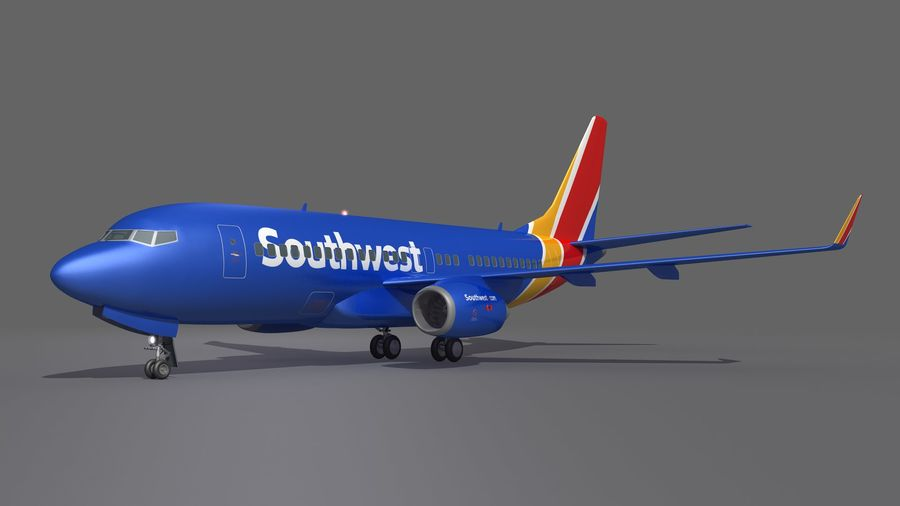 Southwest Airplane Aircraft royalty-free 3d model - Preview no. 6