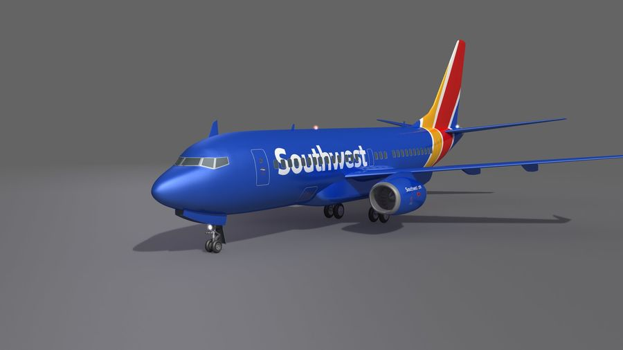 Southwest Airplane Aircraft royalty-free 3d model - Preview no. 2