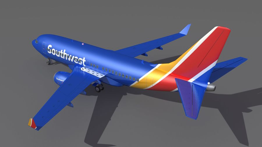Southwest Airplane Aircraft royalty-free 3d model - Preview no. 4