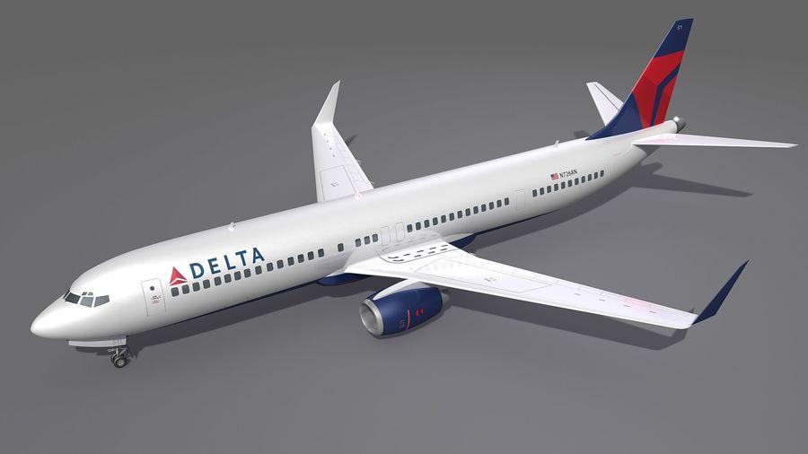 델타 항공 비행기 항공기 royalty-free 3d model - Preview no. 3