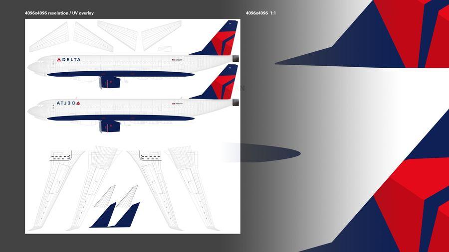 델타 항공 비행기 항공기 royalty-free 3d model - Preview no. 13