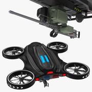 Drone met machinegeweer 3d model