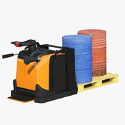 Elektryczny podnośnik paletowy z ładunkiem 3d model