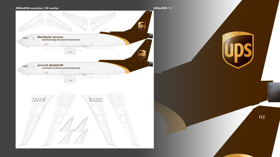 UPS Cargo Aircraft Airplane royalty-free 3d model - Preview no. 12