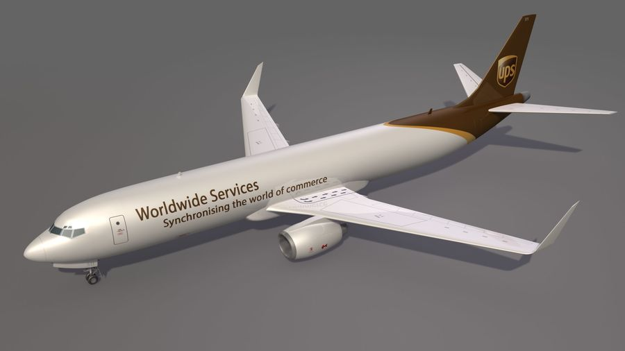 UPS Cargo Aircraft Airplane royalty-free 3d model - Preview no. 3