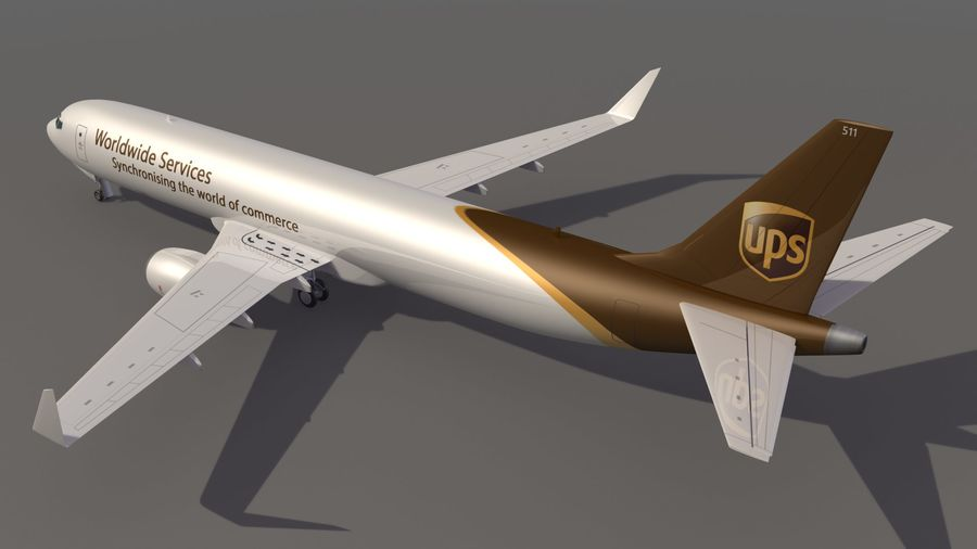 UPS Cargo Aircraft Airplane royalty-free 3d model - Preview no. 4