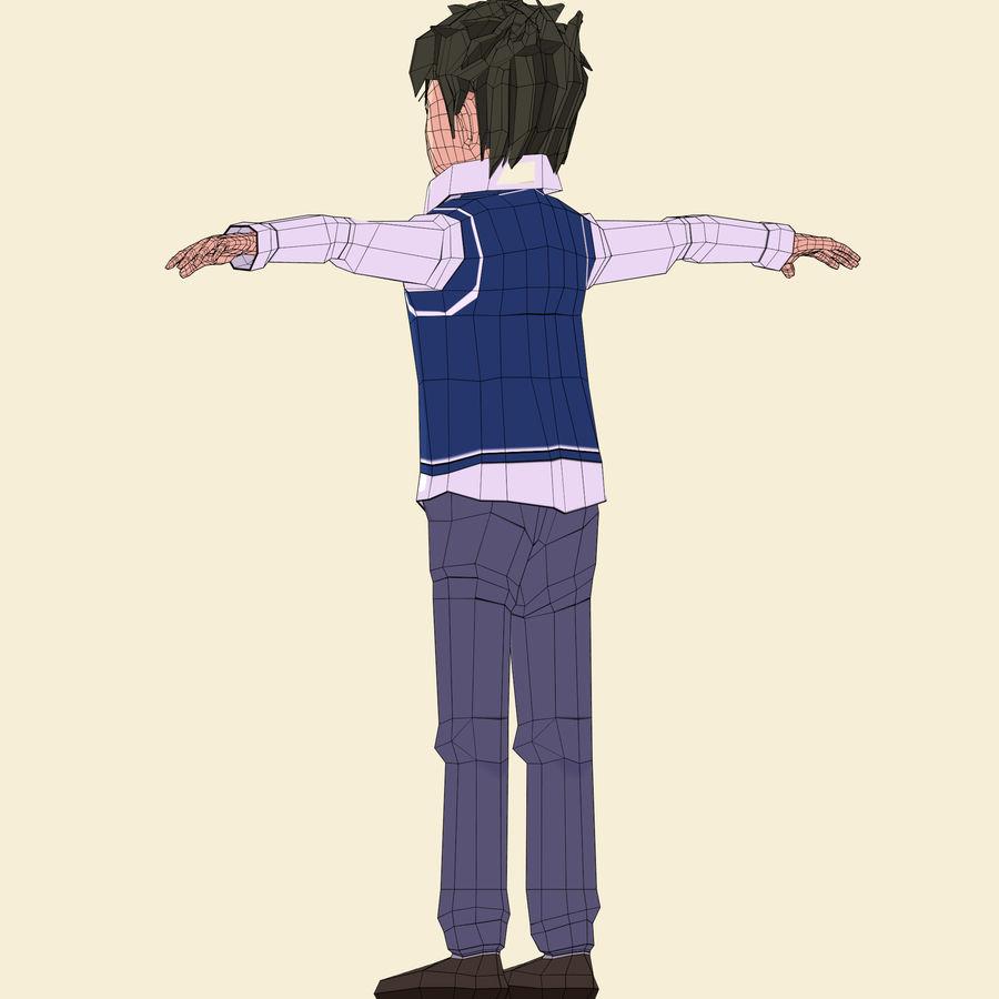 Школьник аниме персонаж royalty-free 3d model - Preview no. 31