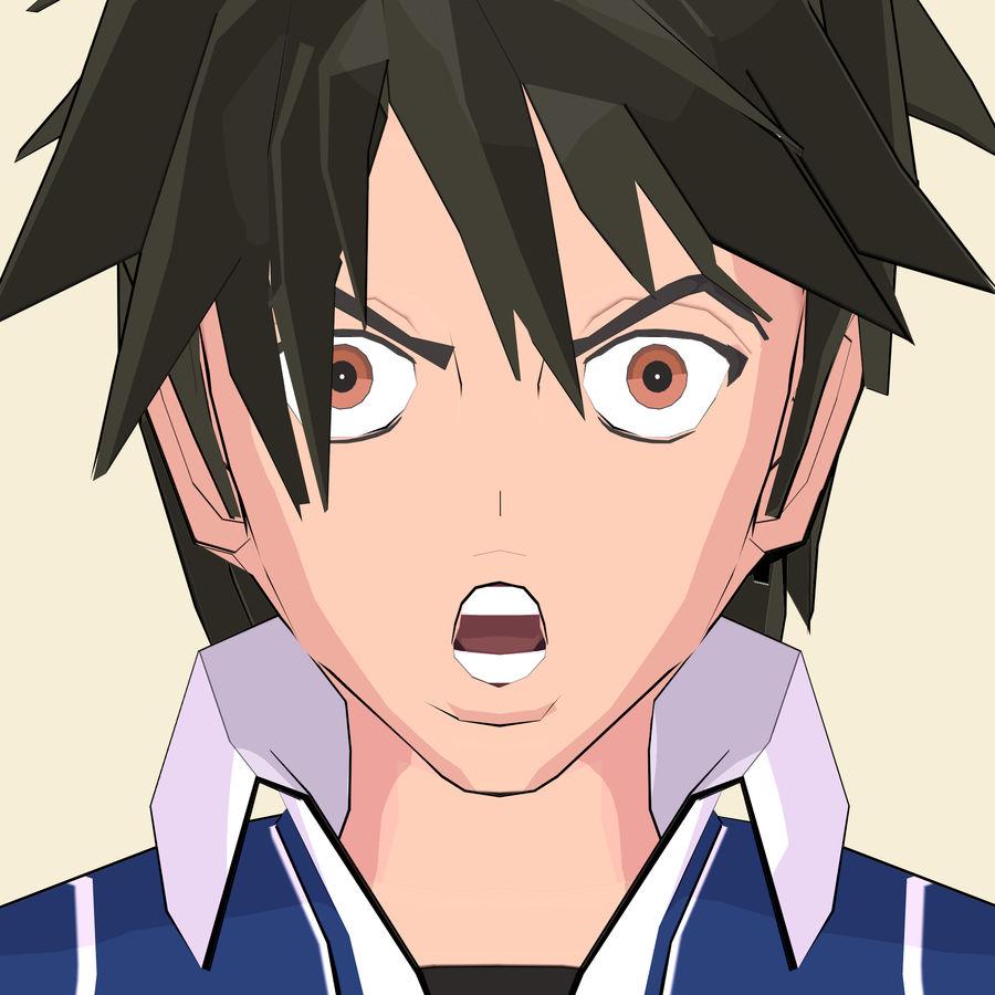 Школьник аниме персонаж royalty-free 3d model - Preview no. 21
