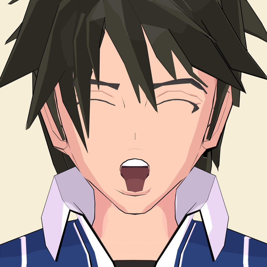 Школьник аниме персонаж royalty-free 3d model - Preview no. 24