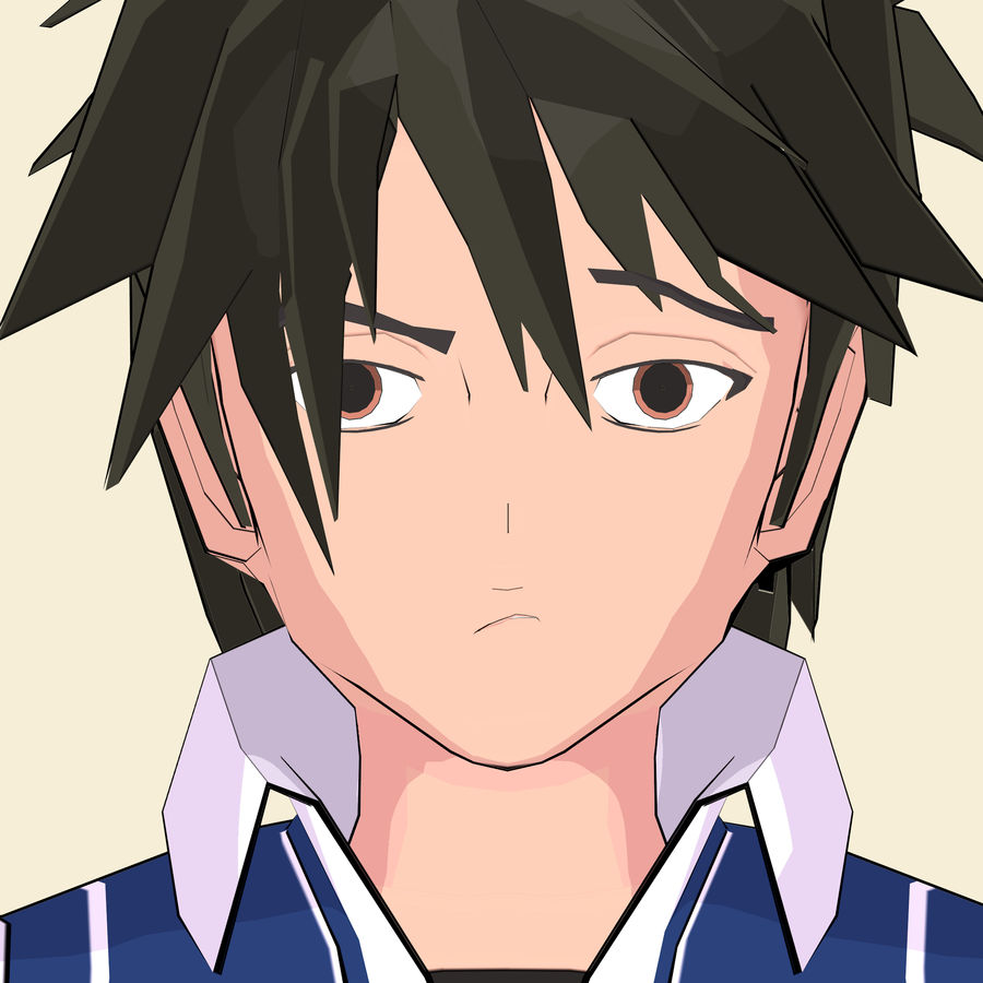 Школьник аниме персонаж royalty-free 3d model - Preview no. 23