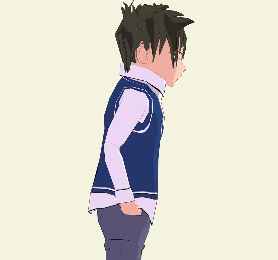 Школьник аниме персонаж royalty-free 3d model - Preview no. 6