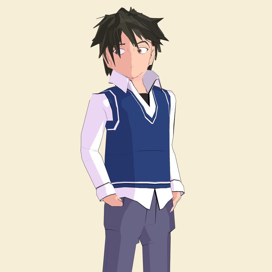 Школьник аниме персонаж royalty-free 3d model - Preview no. 13