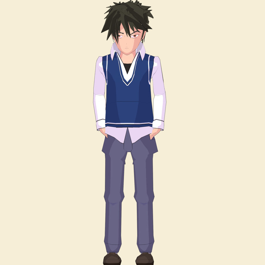 Школьник аниме персонаж royalty-free 3d model - Preview no. 9