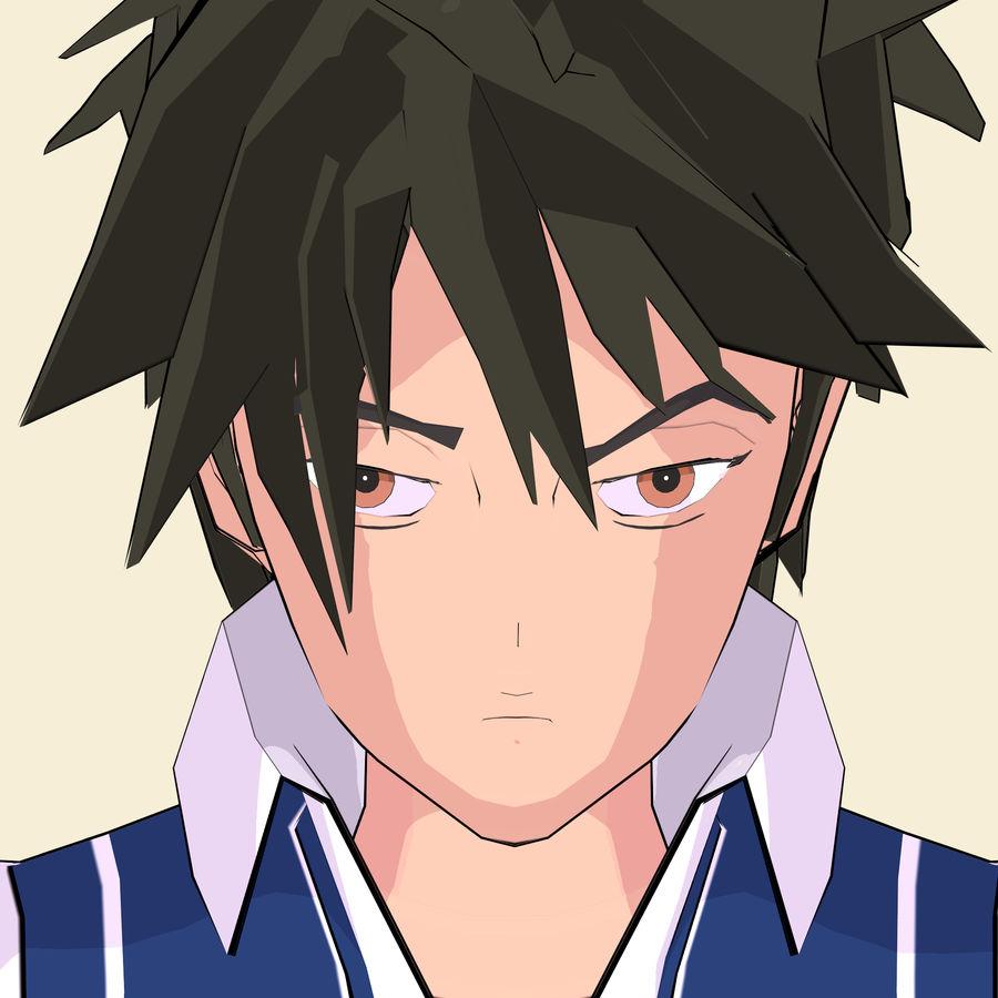 Школьник аниме персонаж royalty-free 3d model - Preview no. 19