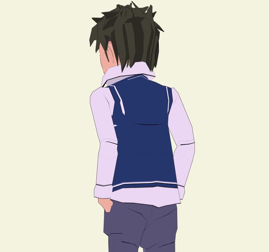 Школьник аниме персонаж royalty-free 3d model - Preview no. 4