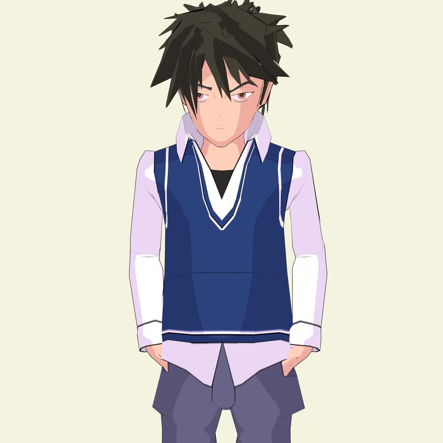 Школьник аниме персонаж royalty-free 3d model - Preview no. 8