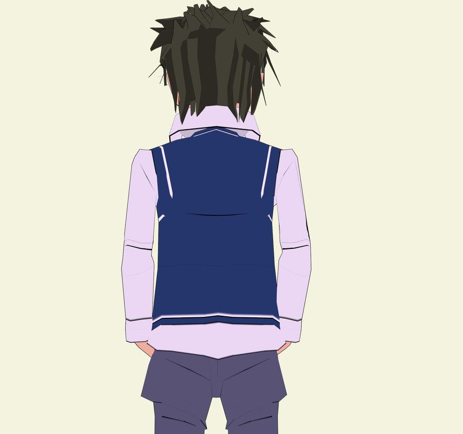 Школьник аниме персонаж royalty-free 3d model - Preview no. 5