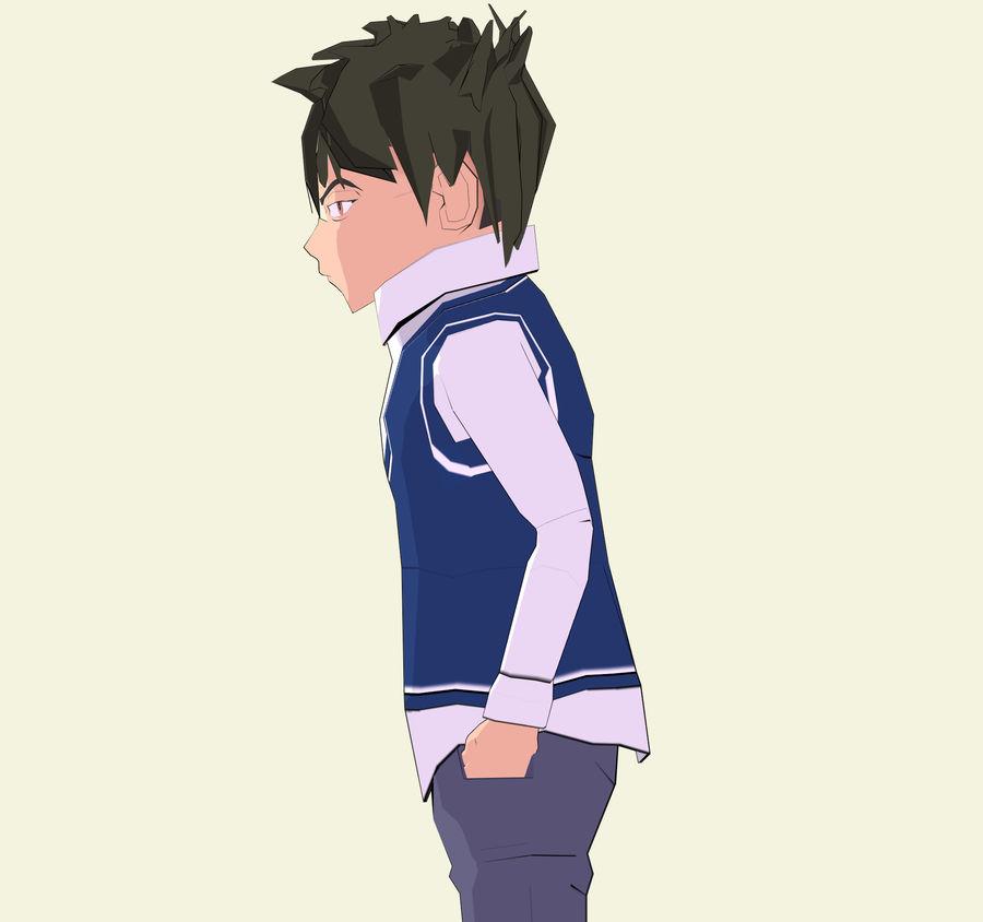 Школьник аниме персонаж royalty-free 3d model - Preview no. 3