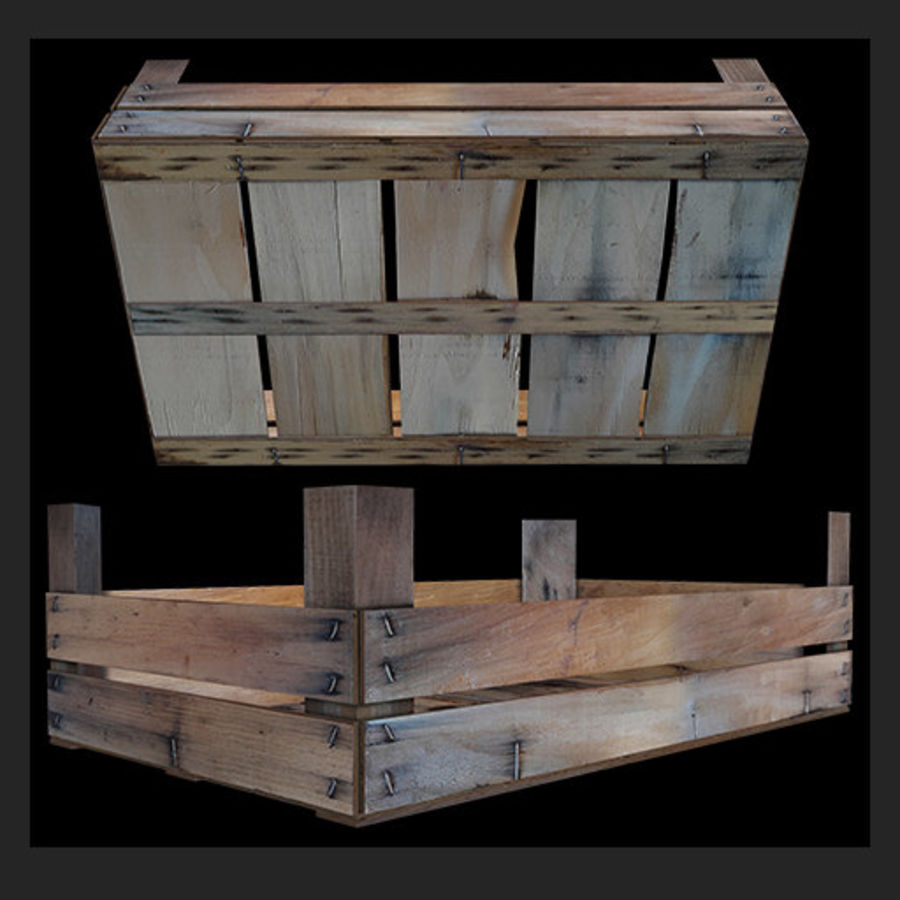 Obstkiste aus Holz royalty-free 3d model - Preview no. 4