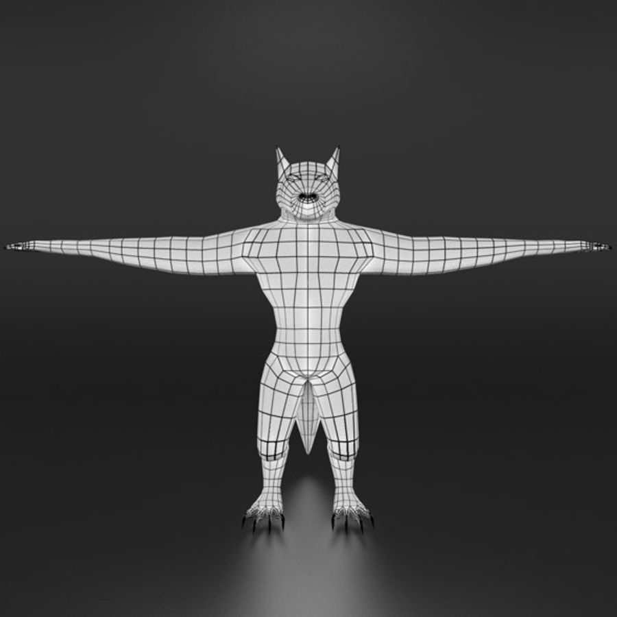 LowPoly WereWolf Base mesh royalty-free 3d model - Preview no. 3