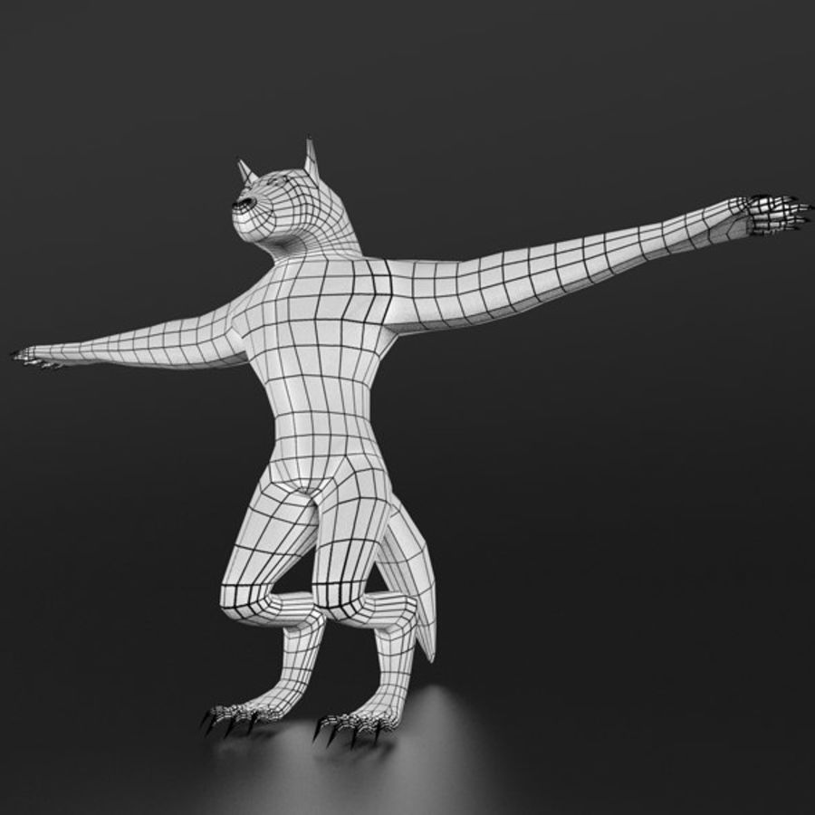 LowPoly WereWolf Base mesh royalty-free 3d model - Preview no. 2