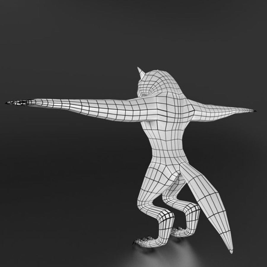 LowPoly WereWolf Base mesh royalty-free 3d model - Preview no. 5