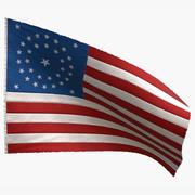 Amerikaanse vlag 34 sterren 1861 3d model