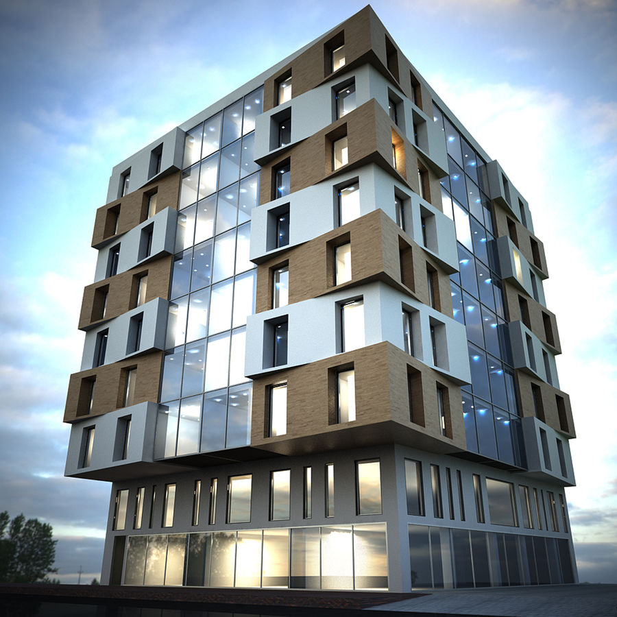 Building Design Exterior Architecture royalty-free 3d model - Preview no. 3