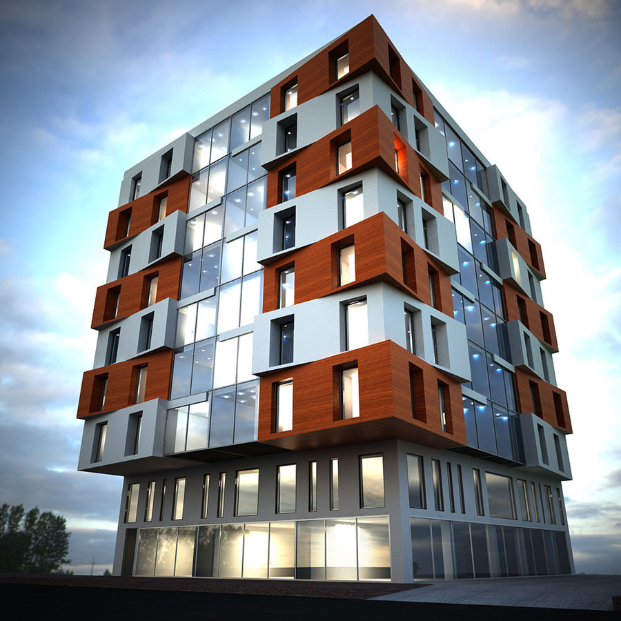 Building Design Exterior Architecture royalty-free 3d model - Preview no. 4