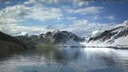 Lago de montaña con texturas de verano e invierno modelo 3d